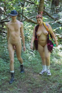 A walk in the forest with huge girlfriend's tits