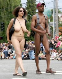 Black dick and big tits at parade