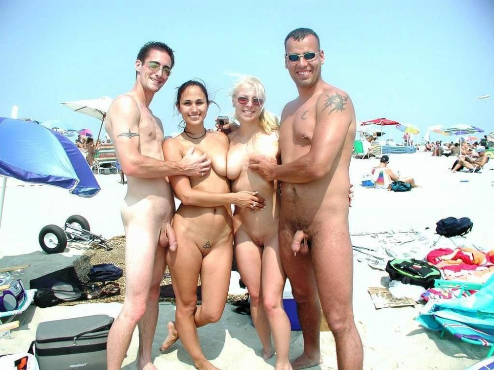 families on beach naked