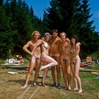 Camping nudist group showing guys with small hairy cocks and girls with flabby tits and trimmed cunts