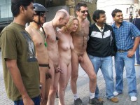 Campus photo of some young guys with thick hairy dicks and girl with flabby tits and hairy pussy