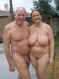Dad's semi-erected shaved cock and mom's huge saggy tits and big pussy