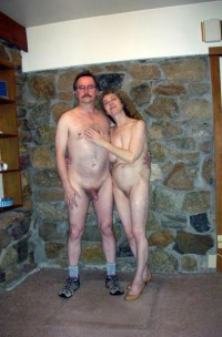 Father with shaved erected cock with mother's saggy tits and big shaved cunt
