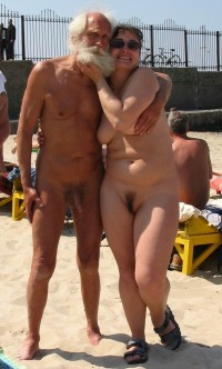 Grandad with semi-hard long hairy dick holding his young girlfriend with huge saggy tits and big trimmed twat