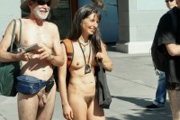 Grandad with small hairy cock and grandma with tiny tits and big hairy pussy walking nude on the public