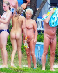 Grandfather's big long cock and Grandmother's saggy tits and trimmed cunt wating for a nude parade