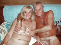 Grandpa with hard hairy cock posing nude with grandma's saggy tits and hairy twat