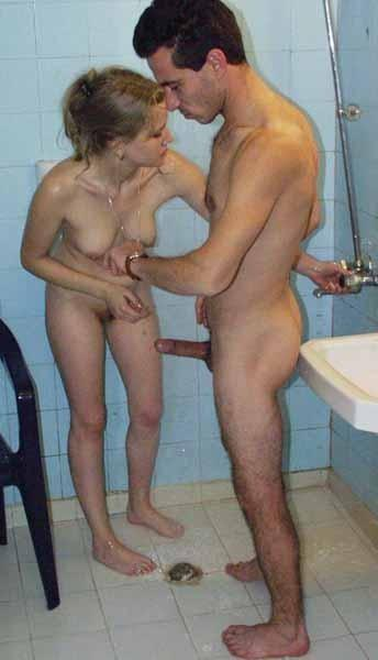 Here casual, Father and daughter naked shower
