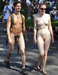 I like walking nude at school parade and showing my long hairy cock and my girlfriend's ginger pussy and small tits