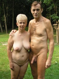 My grandad has huge semi-erected cock when he sees my grandma's huge tits and shaved pussy