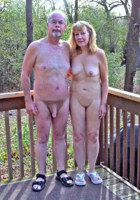 My grandfather with big long cock is happy to see grandmother's small tits and shaved pussy