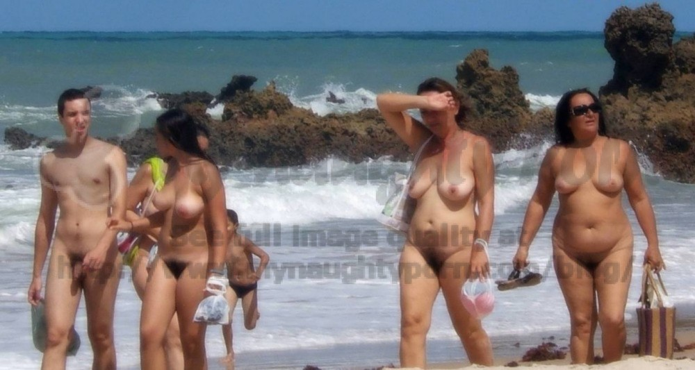 Saggy topless tits beach