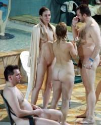 Naturist convention showing wife's tight cunt and tiny boobs and husband with small hairy dick