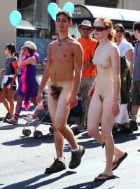 Nude school parade showing boy with tiny hairy cock and girl with small firm tits and big ginger pussy