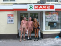 Nude shoppers showing girl's small flabby tits and shaved pussy posing nude with her male friends with small hairy and shaved cocks