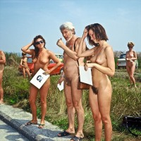 Nudist contest showing girls with huge bushy cunts and firm tits and guy with tiny hairy dick