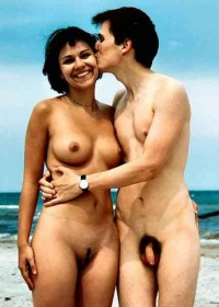 Nudist couple showing boy's small hairy cock and girl's trimmed pussy