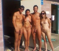 Nudist friends like to show their girls with firm tits and shaved twats and boys with long shaved cocks with huge balls