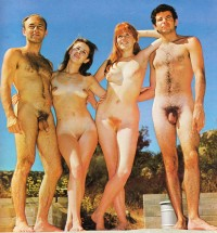Nudist group posing nude and showing some small and long hairy cock and girls with small perky tits and ginger pussies