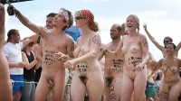 Nudist school parade showing guy's long hairy cock with hanging balls and girl's huge hairy cunt and saggy tits