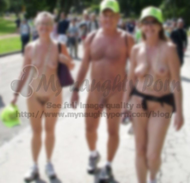 Old couple walking nude at a nude parade and showing women's hairy pussies  and flabby tits and man's semi-erected shaved dick