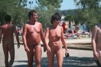 Older couple walking nude and showing guy's uncut shaved small cock and woman's flabby tits and shaved cunt