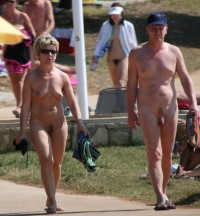 Older couple walking nude on the beach and showing guy's hairy small dick and woman's saggy tits and trimmed cunt
