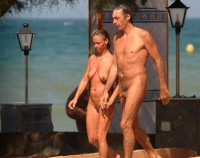 Older nudist couple showing dad's cut hairy cock and mom with flabby empty tits and hairy cunt