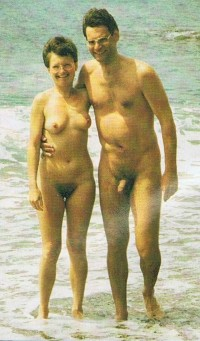 Olld vintage family photo showing dad with semi-hard uncut hairy dick and mom with huge hairy bush and flabby tits