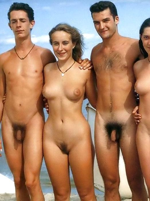 Nudist boy and girl family pic