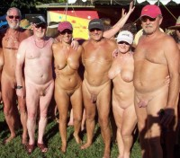 Our nudist friends showing their tiny shaved cocks and women with big flabby tits and shaved pussies