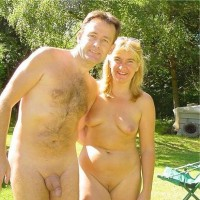 Our parents like nude garden party showing father's big semi-erected shaved cock and mother's big shaved pussy and saggy tits