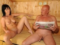 Shaved grandpa with hard shaved cock is looking at her mistress with big shaved pussy and her big firm tits