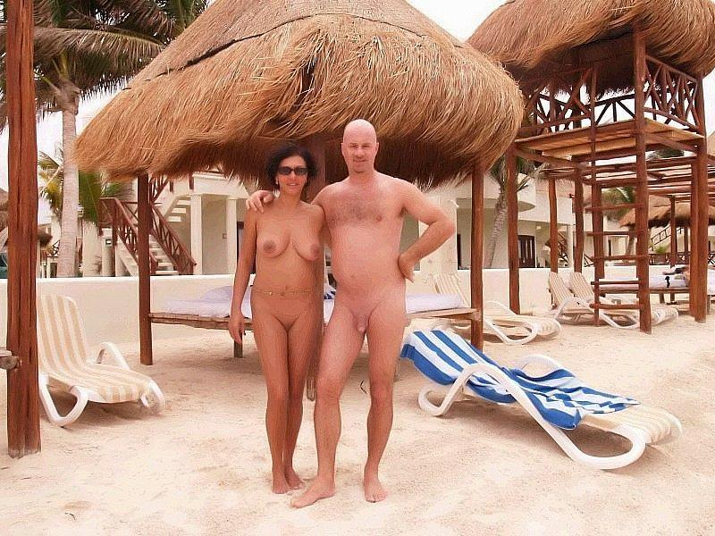 anonymous shaved couple on nude beach