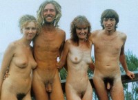Vintage photo with some very hairy small dicks posing nude with girlfriends with firm tits and hairy pussies