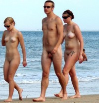 Walking nude on the beach trying to hide my tiny little hairy penis while some young girls showing their firm small tits and big hairy twats