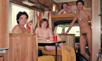 Whole nudist family in a caravan car with boy's tiny hairy cock and older women with fat saggy tits and hairy cunts