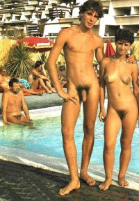 Young couple posing nude and proudly showing boy's long uncut hairy penis and girl's small firm tits and big hairy vagina