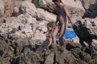 Young girl with hairy cunt and firm tits on a beach with boyfriend's tiny hairy dick