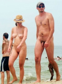 Teen naked couple on beach