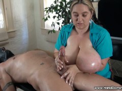 Cfnm busty handjob erection lost in cleavage