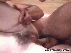 Busty and hairy amateur girlfriend anal with cum